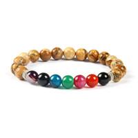 design paar armbänder großhandel-Neues Design Hohe Qualität Bild Stein Perlen 7 Chakra Healing Stone Yoga Klasse Meditation Armband für Paare Geschenk