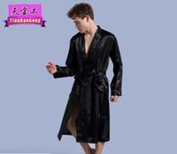 túnica larga de los hombres al por mayor-Bata de color puro para hombre nuevo de 2019, vestido fino de cardigan mejorado, suelto, manga larga, mangas largas y de noche.