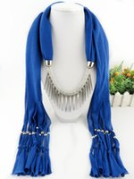 Wholesale Choker Scarf Necklace - 2017 new boho silver rivet Scarves Pendant Necklace Women Jewelry long Tassels multicolor collar choker Scarf cappa wholesale free shipping