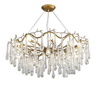 Wholesale Modern Black Crystal Chandelier - led Pendant Lamps Branches G9 K12 crystal chandelier American retro example room restaurant cafe clothing store droplight lighting