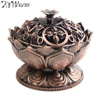 Atacado- Retro Vintage Chinês Lotus Metal Incenso Burner Holder Flower Statue Censer Ornamentos Home Room Decoração Crafts Presentes Vermelho