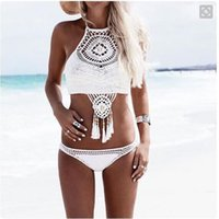 Wholesale White Knit Bikini - knitting Swimsuit Brazilian National Style Crochet Bikini Handmade Halter Hollow Out High Neck Swimwear Shorts For Women NE697