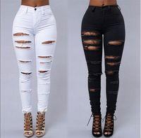 Wholesale Torn Women Jeans - Wholesale- New women ladies black white ripped denim jeans Femme Casual Washed Holes Jeans Push up Torn damage vintage Pants