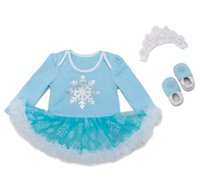 babies tutu rompers Canada - baby girl outfits frozen dress with underwear girls boutique sets kids long sleeve jumpsuits tutu rompers + lace crown headbands + shoes