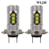 Wholesale 24v H7 Xenon - WLJH 80W 24v 12v 1200 Lumen H7 Led Bulb with Projector Len Driving Fog Light DRL Daytime Running Lights Xenon White