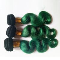 örgü örgü toptan satış-Brezilyalı Vücut Dalga bakire Saç Örgü Demetleri Perulu Malezya Hint kamboçyalı moğol saç 3 parça Iki Ton 1B / yeşil Omber 8-28 inç