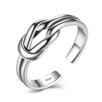 925 silberner manschettenring großhandel-Trendy minimalistischen verstellbaren Manschette Ringe Frauen authentische 925 Sterling Silber Knoten glatt Ring klassische edlen Schmuck VSR026