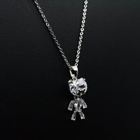Wholesale Wholsale Bearings - 5pcs lot 2017 Summer Fashion Style Cute Cublic Zirconia Small Bear 3 color Women Daily Party Jewelry Wholsale Pendant necklaces