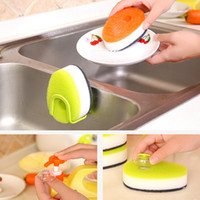 Wholesale Dishes Clean Sponge Brush Detachable Base Bowl Pan Cleaning Brushes Tool Strong Decontamination Cleaner Reusable Add Soap Kitchen Supplies
