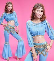 Wholesale Coin Top Belly Dance Costumes - New Bellydance Costume 6 Color 3 Pcs(top+Pants+belt) Coins Belly Dance Indian Clothes Women Belly Dance Pants