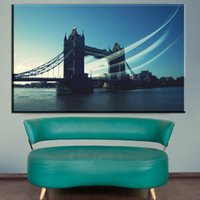 Wholesale Poster Printing London - ZZ1913 Modern Painting Canvas Wall Art Pictures Home Decor Living Room London Building Tower Bridge Poster Printed