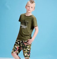 Wholesale Stylish Boys Clothes - Summer Pretty Big Boy Clothes stylish green camouflage Children Boys Cotton Leisure Casual Short Sleeve T shirts Pants Sets Kids Clothing