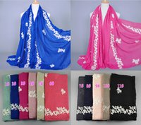 Wholesale Muslim Fashion Men - Wholesale-NEW design women's fashion embroider flower cotton popular long scarf wrap head Muffler hijab muslim scarves shawls 10pcs lot