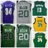 Wholesale Team Jerseys For Cheap - 2017 Throwback 34 Ray Allen Basketball Jerseys Cheap Vintage For Sport Fans 13 Glenn Robinson Jersey Men Team Yellow Green White Purple
