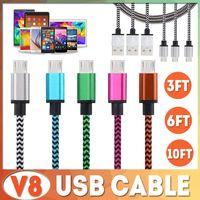 3m usb apple sync al por mayor-1M / 2M / 3M TIPO C Cable micro USB Nylon trenzado colorido V8 Data Sync Cable cargador de alta velocidad 3FT / 1M 2M / 6FT 3M / 10FT para Samsung Note 9 S9 S8