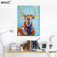 Wholesale Pictures Happy - Happy Sika Deer 100% Handpainted Animal Oil Paintings Funny Cartoon Picture Paint on Canvas Modern Wall Art Home Decoration