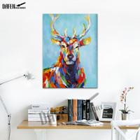 dibujos animados pinturas al óleo al por mayor-Happy Sika Deer 100% pintado a mano Pinturas al óleo de animales Divertidos dibujos animados pintura sobre lienzo Moderno arte de la pared decoración del hogar