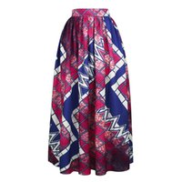 Wholesale long print spring skirts for woman - Spring Summer Woman Long Maxi Skirt African Dashiki For Women Bazin Riche Robe Longue Femme Plus Size Skirt African Print Clothes Clothing