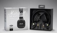 siyah cep telefonu bluetooth toptan satış-Marshall Major II 2.0 Siyah Bluetooth Kulaklıklar içinde Bluetooth Kablosuz Kulaklık Derin Bas Gürültü Izole kulaklık cep telefonları için