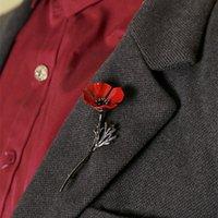 pistole broschen großhandel-Neue Ankunft Retro Frauen Schmuck Gun Metal Broschen UK Remembrance Tag Rote Blume Brosche Sicherheitsnadeln Männer Brosche für Anzüge Zubehör