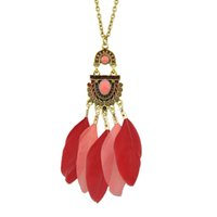 Fanhua Indian Designed Colorful Feather Long Pendentif Colliers