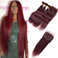 kırmızı düz insan saç örgüsü toptan satış-# 99J Bordo Brezilyalı Bakire Saç Örgü Kapatma Ile 4 Adetgrup Şarap Kırmızı Ipeksi Düz İnsan Saç 3 Demetleri Ile 4x4 '' Dantel Üst Kapatma