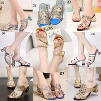 Wholesale Us9 Rhinestone Sandals - fashion slippers High-heeled sandals casual Sandals Summer ladies slippers Rhinestones sandals