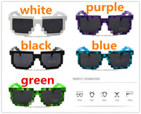 Wholesale Pixel Sunglasses Men - Vintage Mosaic Kids SunGlasses For Kids And Adults Part Novelty Unisex Pixel Sunglasses Trendy Minecraft Glasses show props Children Gift