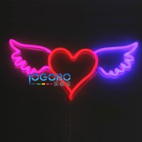 Wholesale Pub Games - New 24x11inch Red Heart with Angel Wings 12V Real Neon Light Sign Home Beer Bar Pub Recreation Room Game Window Garage Wall Sign