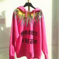 Wholesale Pink Womens Hoodie L - 2017 Autumn Winter Womens Fashion Pink Hooded Sweatershirts with Sequins Letters Printing Girls Loose Pullover Hoodies