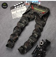 Wholesale Cargo Jeans Military Fashion - Military Skinny Jeans Men Fashion Brand Camouflage Jeans Zipper Cargo Pocket Mens Designer Jeans Moto Biker Denim Pants