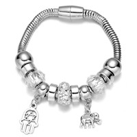 Wholesale Native American Gold - Wholesale-Luxury Jewelry Silver Plated Native American Beaded with Plam and Elephant Shaped Danlge Pendant Charm Bracelet and Bangle