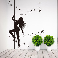 Wholesale wall stickers dance - Pole Dancing Girl Wall Sticker Wall Paper Home Decor Vinyl Removable Mural Decals Free shipping