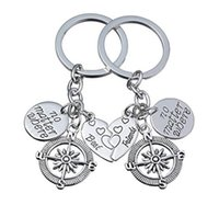 Wholesale Best Love Keychains - Best Friend Mother Daughter Love Heart Key Chain Family Friendship Keyring Jewelry Keychain Charm Compass aa411