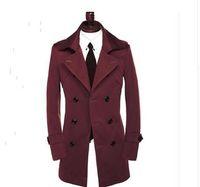 современная одежда плюс размер оптовых-Осень тонкий сексуальный двубортный тренч пальто мужчины с длинным рукавом верхняя одежда Мужская тренч пальто пояса одежды современный городской плюс размер 9XL