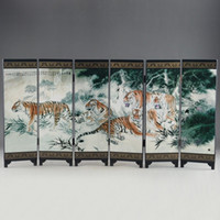 """Wholesale Painting Tigers - CHINESE LACQUER OLD HANDWORK PAINTED FIVE BLESSING TIGER """"SIX FOLD SCREEN DECO"""""""