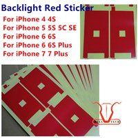 Wholesale Iphone 4s Back Stickers - Backlight Red Sticker Film For iphone 7 6s 6 plus 6G 5S 5 5C SE 4S LCD Screen Display back light Adhesive Refurbishment