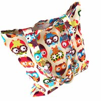 Wholesale Wholesale Used Women Bags - Wholesale-Cartoon Owl Printed Canvas Tote Female Casual Beach Bags Large Capacity Women Single Shopping Bag Daily Use Canvas Handbags