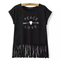 Wholesale Women White Tshirt Wholesale - Wholesale-PEACE LOVE Print Women Tshirt White Black Casual Short Sleeve Tee Shirt New Spring Summer O Neck Tassel Tops Camisetas Femininas