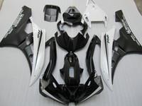 juegos de carenado r6 al por mayor-Juego de carenado de moldes de inyección para carenado Yamaha YZF R6 2006 2007 blanco negro YZFR6 06 07 OT02