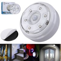 Wholesale Motion Sensor Battery Powered - 6LED Night Light Battery Powered Wardrobe Cabinet Lamp Wireless Infrared PIR Auto Sensor Motion Detector Wall Light