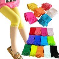 Wholesale Wholesale Velour Pants - 14 colors kids baby girls velvet candy color leggings summer girls lace leggings children Cropped Pants 0901045