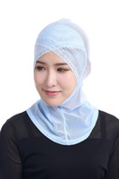 nuevas hermosas bufandas al por mayor-CALIENTE Nueva Hermosa Ajuste de Encaje Musulmán Hijabs de Malla Musulmana Árabe Hijab Casual Wear Arab Bufanda Cap Shawl