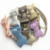 Wholesale Ribbon Style Headband Bow - 5 styles hot Leather Bow Nylon Headband,Leather Bows Baby Headbands,Girls And Kids Nylon Hair Accessories 30pcs lot