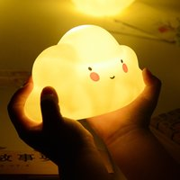 Wholesale Smiling Faces Lamps - LED Night Light Cute Cloud Moon Smile Face Novelty Bedside Lamp Creative Room Decor Lighting Emitting Toy 5 99mx F R