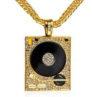 Wholesale Dj Jewelry - DJ Phonograph Big Pendant Necklace Men Jewelry Hiphop Chain Gold Silver Color Music Hip Hop Rock Rap Necklaces Mens Jewellery