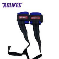 Wholesale wholesale wrist strap weightlifting - Wholesale- AOLIKES 2pcs Anti-slip Weightlifting Bands Sport Safety Wrist Support Gym Strap Fitness Gym Sports Thicken Wristband Protector