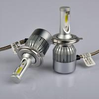 Wholesale H7 Hi Lo - Super Bright Vehicle Headlights h4 h7 h11 9005 9006 cob LED Vehicle Headlight Bulb Hi-Lo Beam 72 W 6000 K Auto Headlight12 v 24