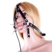 Wholesale Metal Bondage Restraints - Spider Shape Metal Ring Gag Bondage Restraint with Nose Hook Slave Fetish Mouth Gag S&M tools Black Full Head Harness