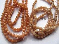 piedra gris al por mayor-Alta calidad 2 strands 4-16mm Natural sunstone stone bola redonda facetada oranger gris perlas de joyería